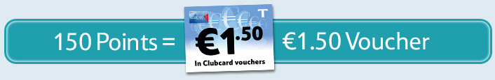 With a minumum 150 point, that gives you €1.50 voucher